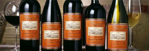 Five bottles of Naggiar wine